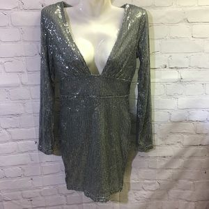 CBR Silver Sequin Plunging Front Dress Size Small